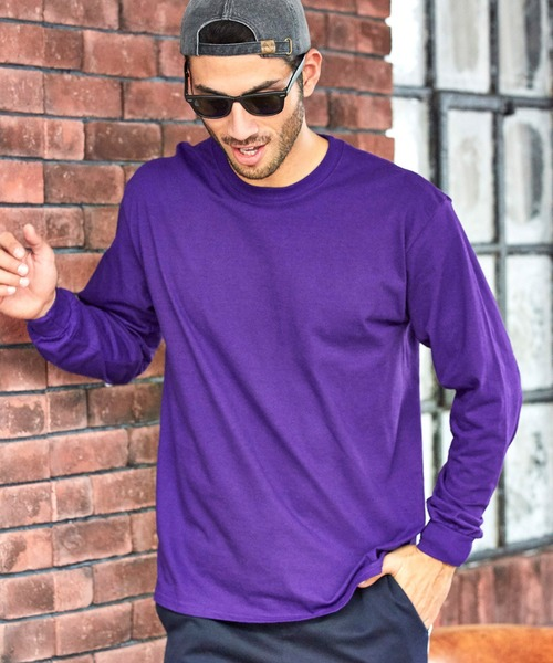 GILDAN/ギルダン  オーバーサイズ クルーネックロングTシャツ / カットソー 長袖 ポケット ロンT