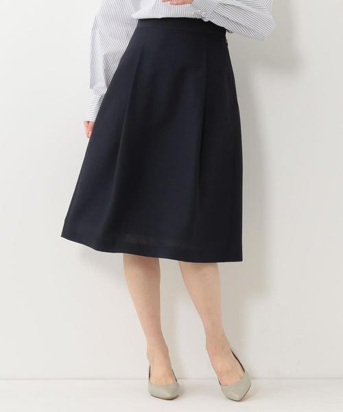 <closet story>□スラブ タックフレアスカート -手洗い可能-