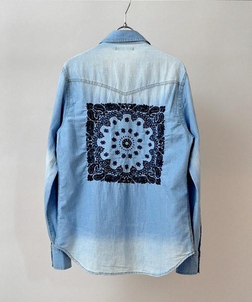 シャンブレーバック刺繍ウエスタンシャツ