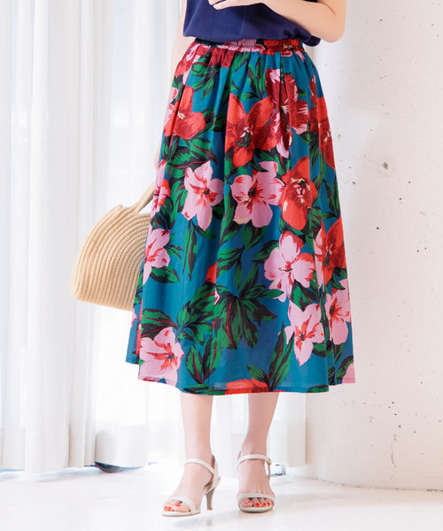 KOBE LETTUCE(コウベレタス)の「リゾート花柄ミディ丈フレアスカート(スカート)」|グリーン