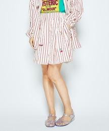 LOGO SCRATCH刺繍 フレアキュロットスカート