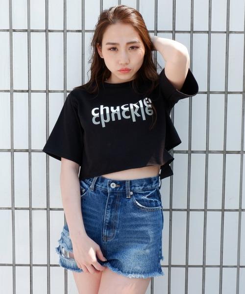 カットアウトロゴTシャツ