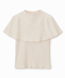 リブハイネックケープTシャツオフホワイト