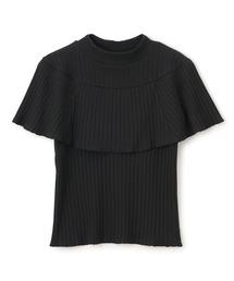リブハイネックケープTシャツブラック