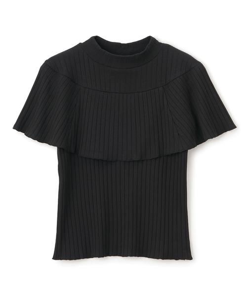 リブハイネックケープTシャツ
