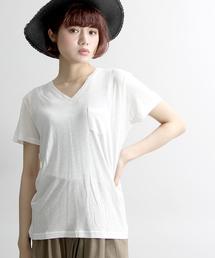 WEGO(ウィゴー)のWEGO/リネンモダールVネックTシャツ(Tシャツ/カットソー)