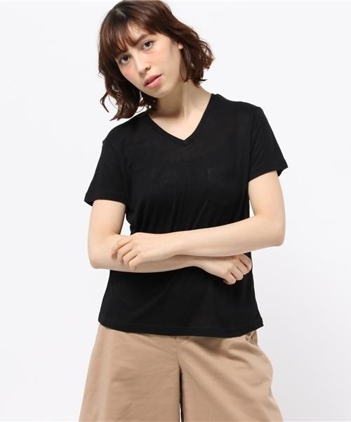 WEGO/リネンモダールVネックTシャツ