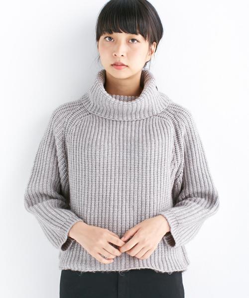 haco!(ハコ)の「ミックス糸のタートルニット(ニット/セーター)」|杢グレー