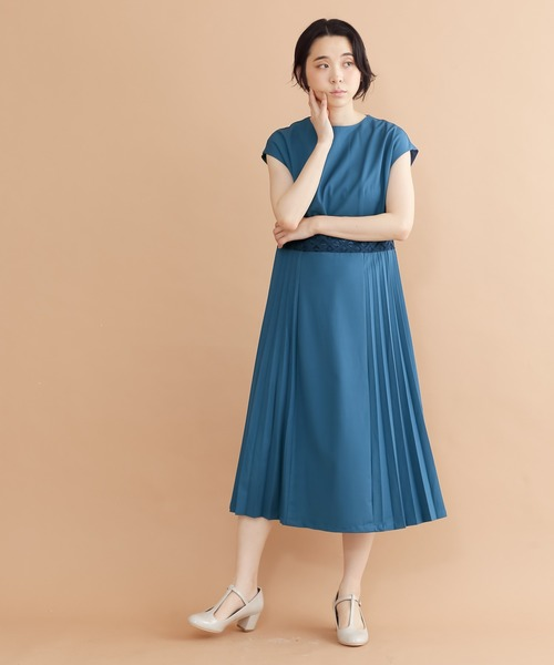 merlot plus(メルロープリュス)の「サイドプリーツワンピース1665(ドレス)」|ブルー