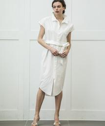 【STYLEBAR】シェルボタンシャツドレスオフホワイト