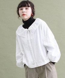 Dot&Stripes CHILD WOMAN(ドットアンドストライプス チャイルドウーマン)のコットンレース VN ドルマンショートブラウス(シャツ/ブラウス)