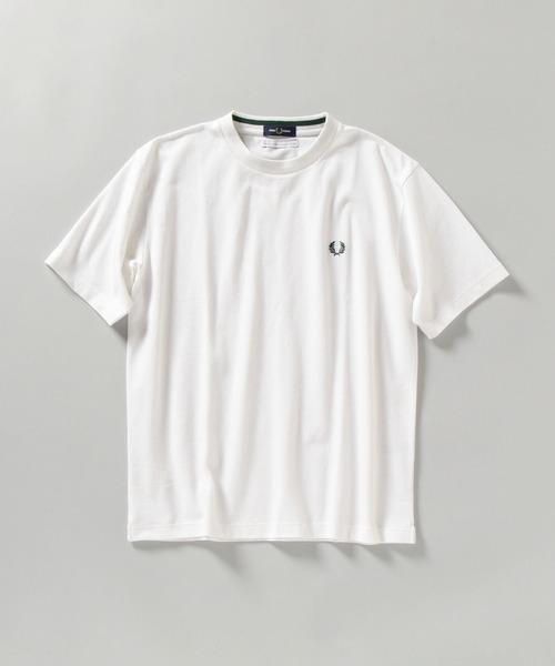 FRED PERRY(フレッドペリー)の「【WEB限定/SHIPS別注】FRED PERRY: SOLOTEX(R) 鹿の子 ワンポイント ロゴ Tシャツ(Tシャツ/カットソー)」|ホワイト