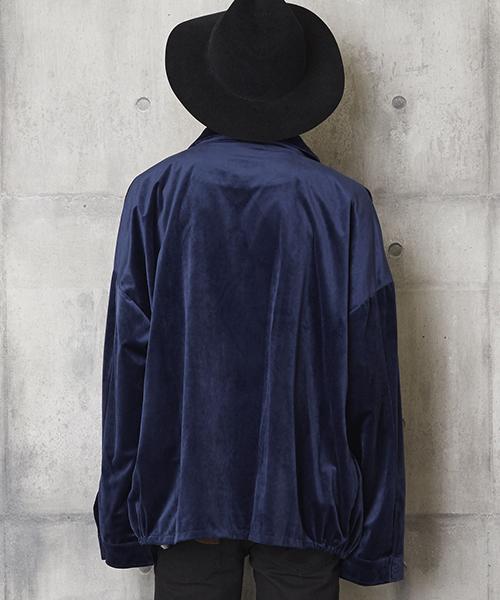 オーバーサイズベロアジャケット ZIP襟付きジャケット