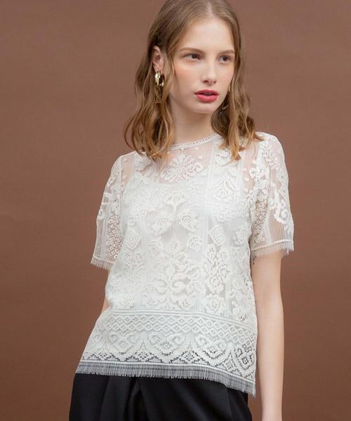 UNITED TOKYO(ユナイテッドトウキョウ)の「リバーレースブラウス(Tシャツ/カットソー)」 ホワイト