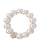 ROSE BUD | (GARY FASHION) BT3423 PEARL/R-STONE BRACELET[結婚式&パーティー](ブレスレット)
