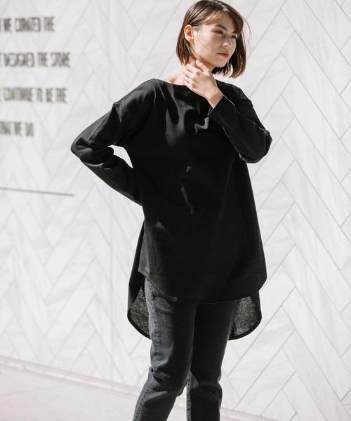 Munich(ミューニック)の「度詰め天竺ロングTシャツ(Tシャツ/カットソー)」|ブラック