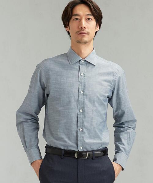 [ アルビニ ] ALBINI スラブシャンブレー ショートワイドカラー シャツ