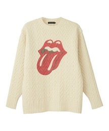 THE ROLLING STONES/LIPS AND TONGUE プルオーバーオフホワイト