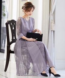 niana(ニアナ)のプリーツ×レース 7分袖パーティードレス 結婚式ワンピース(ドレス)