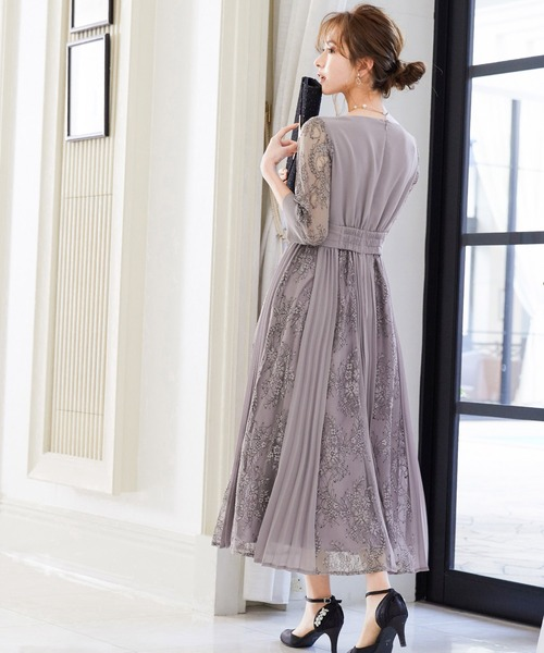[Fashion Letter] プリーツ×レース 7分袖結婚式ワンピースドレス