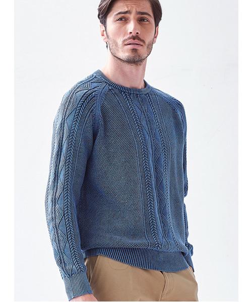 ケーブル鹿の子編みコットンクルーネックセーター