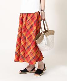 【Market】マドラスチェックロングフレアスカート