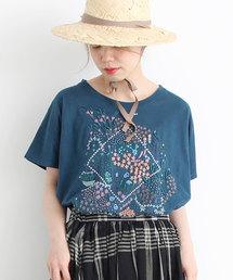 l'atelier du savon(アトリエドサボン)の階段下の花市場刺繍ゆったりTシャツ(Tシャツ/カットソー)