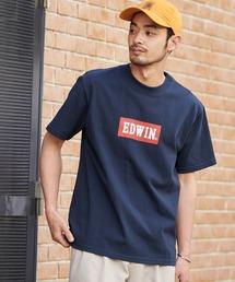 EDWIN/エドウィン BASIC PRINT H/S TEE BOXロゴプリント半袖Tシャツネイビー