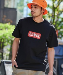 EDWIN/エドウィン BASIC PRINT H/S TEE BOXロゴプリント半袖Tシャツブラック