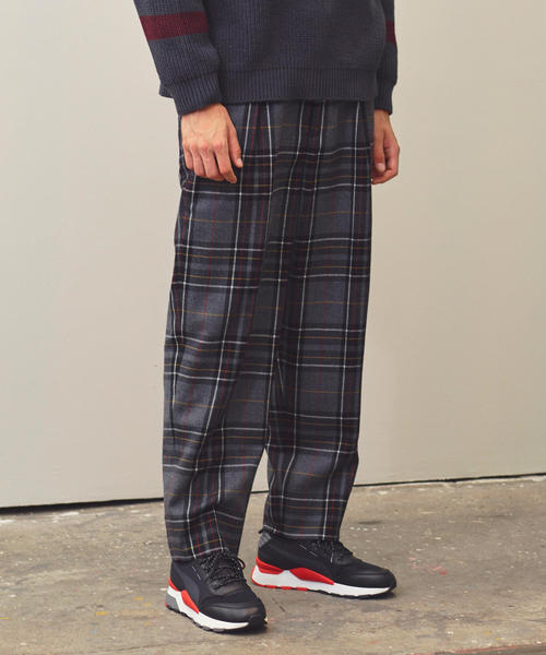 <monkey time> FLANO CHECK WIDE 1P PANTS/ワイドパンツ