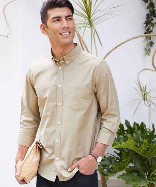 高密度オックスフォードストレッチボタンダウンシャツ / 7分袖&半袖