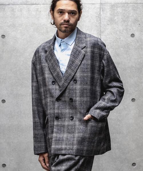 mj7388-Plaid Double Tailored Jacket ジャケット