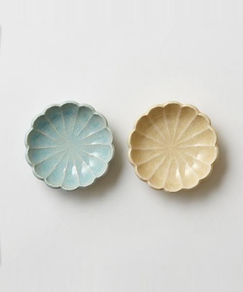 HANAEMI MAMEZARA MIZU×SUNA 2pcs / 花笑み豆皿 水色×砂色ペアセット