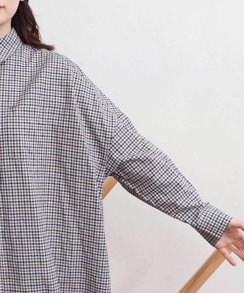 コットン/リネン Kapok check tunic シャツワンピース