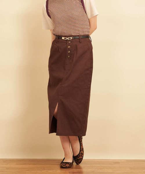Emsexcite(エムズエキサイト)の「綿サテンナロースカート(スカート)」|ダークブラウン