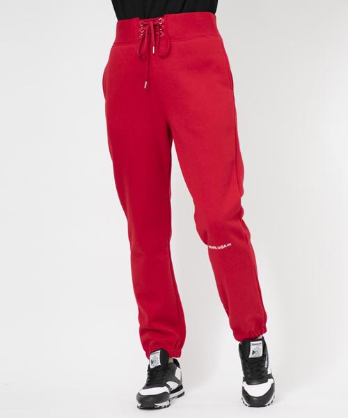 X-girl(エックスガール)の「LACE-UP SWEAT PANTS(パンツ)」 レッド