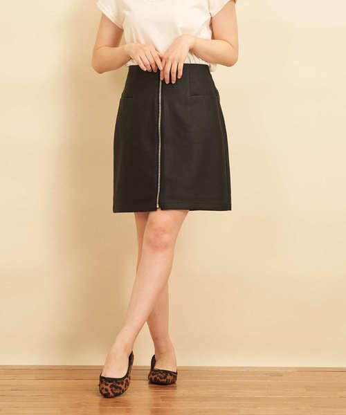 リングジップレザー台形スカート