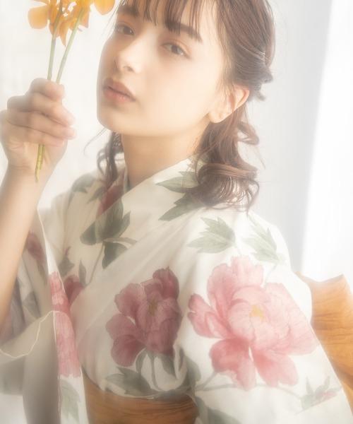 1人で着られる浴衣5点セット 和歌山染工日本染め(ゆかた·しわへこ帯·下駄·着付け本·腰ひも)【K】