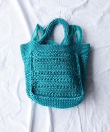 柄編みスクエア型トートブルー