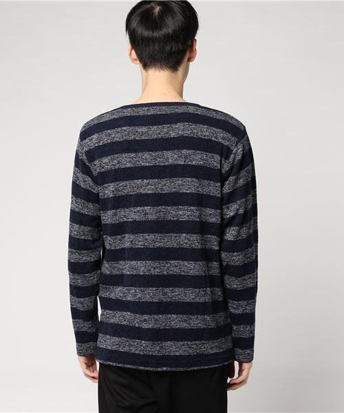 【WEB店限定】【セレクト】ボーダーミル天竺 VネックT