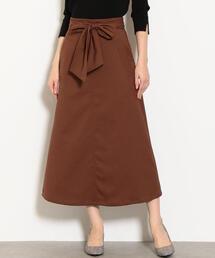 NFC ウエスト ベルト フレア ロング スカート ◆
