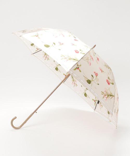LANVIN collection(ランバン コレクション)の「傘 【ロゴリボン ボタニカルフラワー】(長傘)」|ベージュ