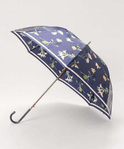 LANVIN collection(ランバン コレクション)の「傘 【ロゴリボン ボタニカルフラワー】(長傘)」|ネイビー