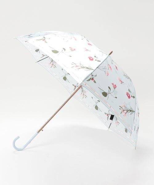 LANVIN collection(ランバン コレクション)の「傘 【ロゴリボン ボタニカルフラワー】(長傘)」|サックスブルー