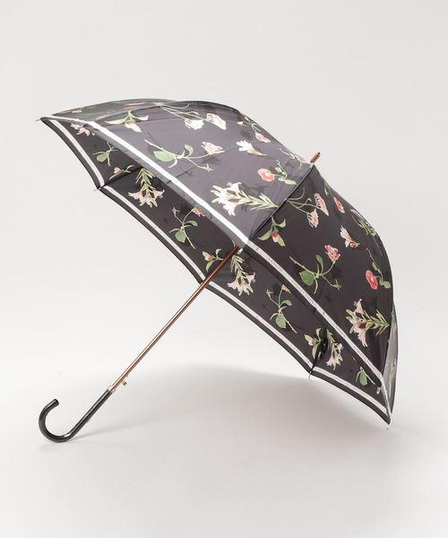 LANVIN collection(ランバン コレクション)の「傘 【ロゴリボン ボタニカルフラワー】(長傘)」|ブラック