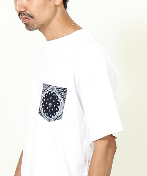 USAコットンバンダナ柄ポケットTシャツ