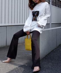 オーバーサイズphotoロングTシャツオフホワイト