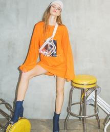 オーバーサイズphotoロングTシャツオレンジ