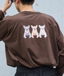 シルケットライク天竺 オーバーサイズイラストプリントL/Sカットソー/プリントロンT/Tokyo Mood/Best Friend Forever/I can always/Keep your Hairon/American Cocker Spaniel/French Bulldogその他1
