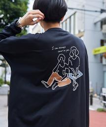 シルケットライク天竺 オーバーサイズイラストプリントL/Sカットソー/プリントロンT/Tokyo Mood/Best Friend Forever/I can always/Keep your Hairon/American Cocker Spaniel/French Bulldogブラック系その他6